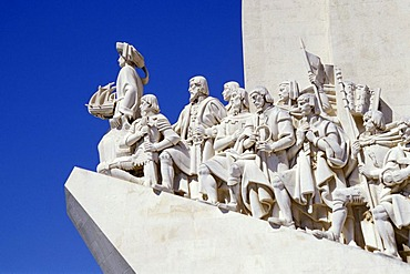 Padrao dos Descobrimentos, monument to discoverers, sculpture with significant figures of Portuguese seafaring at the riverside of Tejo, Belem, Lisbon, Portugal, Europe