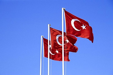 Three Turkish flags in Fethiye, Mugla Province, Turkey