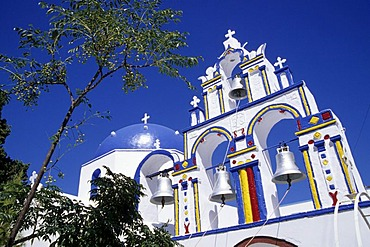 Coloured church in community of Potamos, Santorini, Thera or Thira, Island of Thirasia, Therasia, Cyclades, the Aegean, Mediterranean Sea, Greece, Europe