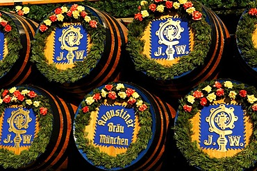 Beer kegs on the beer wagon from Augustiner Brewery, Wies'n, Oktoberfest, Munich, Bavaria, Germany, Europe