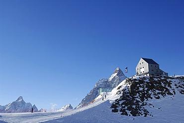 Mountain hut, Rifugio Theodulo, Mount Matterhorn, Zermatt, Wallis, Switzerland, Europe
