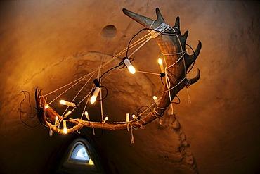 Caribou-antlers as lamp in igloo-hotel, Snow Hotel, Kirkenes, Finnmark, Lapland, Norway, Scandinavia, Europe