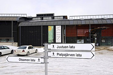 Direction sign in front of Siida, Sami-Museum, Inari, Lapland, Finland, Europe
