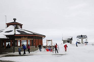 Huippu mountain hut in the Saariselkae skiing area, Ivalo, Lapland, Finland, Europe