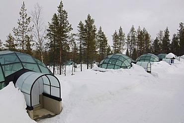 Glass igloo, Icehotel Kakslauttanen, Ivalo, Lapland, Finland, Europe