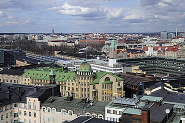 Panoramic view from Hotel Tornin over the main train station, Helsinki, Finland, Europe