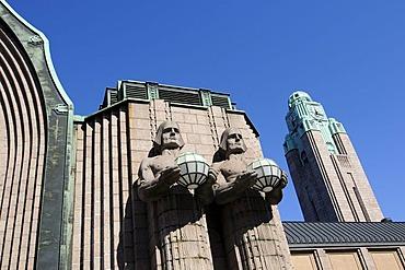 Main train station with Art Nouveau statues, Helsinki, Finland, Europe