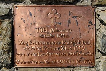 Memorial plate on the peak of Mt. Joel, Wildschoenau, Tyrol, Austria, Europe