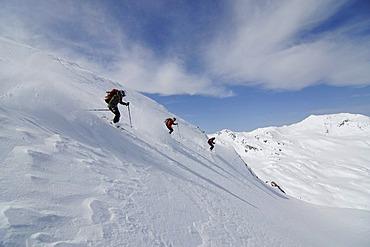 Ski wanderer on ski tour, ski-run from Tristkopf, Kelchsau, Tyrol, Austria, Europe
