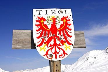 Sign, Tyrol border at Markkirchl, Salzachjoch, Kelchsau, Tyrol, Austria, Europe