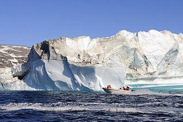 Boat tour with Inuit, icebergs near Ammassalik, East-Greenland, Greenland
