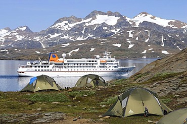 Cruise ship Bremen in the Kong Oscar Fjord, Tasiilaq, Ammassalik, East Greenland, Greenland