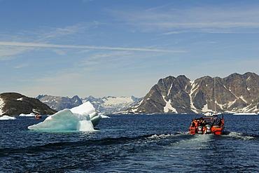Boat transfer, icebergs in Ammassalik, East Greenland, Greenland