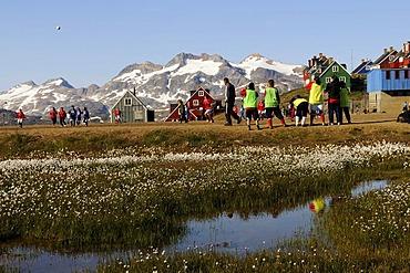 Women's football in Tasiilaq, Ammassalik, East Greenland
