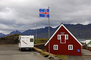 Tourist information of Djupivogur, flag of Iceland, Iceland, Europe