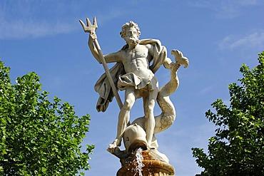 Neptune's fountain in Carcassonne, Midi, France, Europe