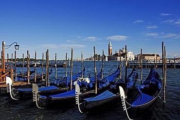 Gondolas at St. Mark's Square, view towards San Giorgio Maggiore, Venice, Veneto, Italy, Europe