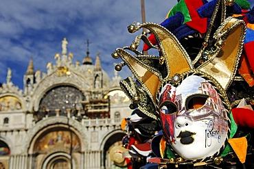 Venetian mask, souvenir stall, Doge's Palace, Venice, Veneto, Italy, Europe