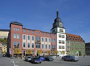 Market Square with Town Hall, Rudolstadt, Thuringia, Germany, Europe