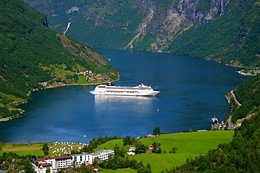 Cruise liner at the ending of the Geirangerfjord, Geiranger, Norway, Scandinavia