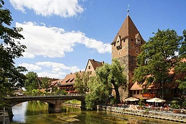 Pegnitz River, Heubruecke Bridge, Schuldturm Tower, historic city centre, Nuremberg, Middle Franconia, Bavaria, Germany, Europe