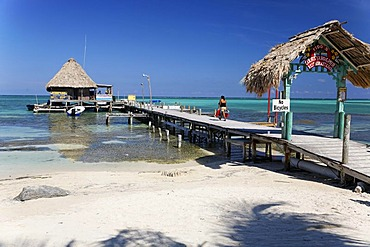 Restaurant at the end of a pier in the ocean of San Pedro, Ambergris Cay Island, Belize, Central America, Caribbean