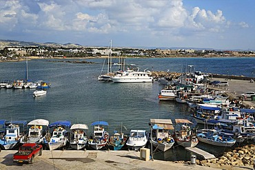 Fishing harbour with fishing boats, coastline, Paphos, Pafos, Cyprus, Europe