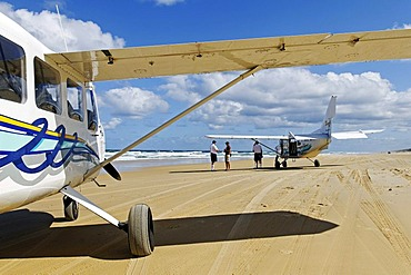 Plane on the 75-Mile Beach, Fraser Island, Queensland, Australia