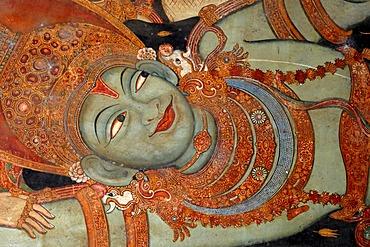 Vishnu lying down, mural, Ettumanur Temple, Kerala, South India, Asia