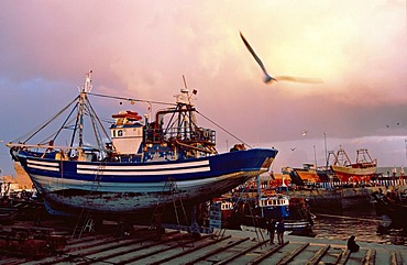 Trawler in the shipyard of Essaouira harbour, Morocco, Africa