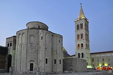 Church and campanile, Sv. Donat, dusk, Zadar, Croatia, Europe
