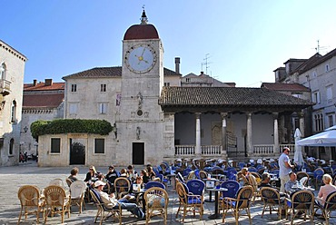 Clock tower, town loggia, Trg Ivan Pavla II, John Paul II Square, Trogir, Dalmatia, Croatia, Europe