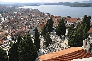 View over town from the Sveti Mihovil Fortress, Sibenik, Croatia, Europe