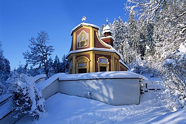 Pilgrimage site Maria Larch in the winter, Gnadenwald, North Tyrol, Austria, Europe