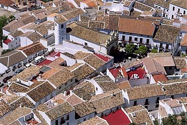 View of the roofs of Zahara de la Sierra, Sierra de Grazalema, Cadiz Province, Andalusia, Spain, Europe