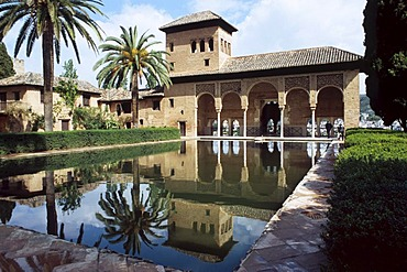Fountains and courtyards in the Alhambra, Granada, Andalusia, Spain, Europe