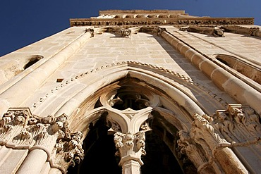 Detail, steeple of the Cathedral of St. Lawrence, Sveti Lovro, Trogir, Croatia, Europe