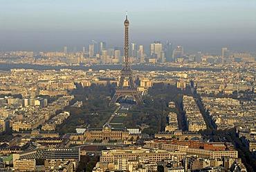 Eiffel Tower, Champ de Mars, ecole Militaire and La Defense in Paris, France, Europe
