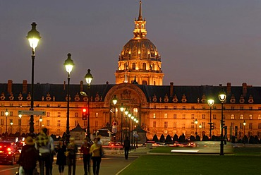 Illuminated Les Invalides Church, Invalidendom, Paris, France, Europe