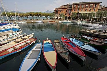 Boats in the port of Torri del Benaco, Lake Garda, Italy, Europe