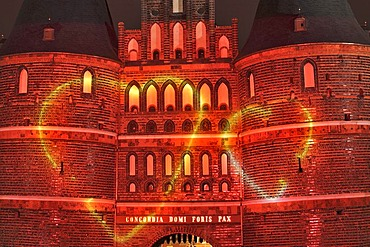 Holstentor Gate lit up due to the renovation, Luebeck, Schleswig-Holstein, Germany, Europe