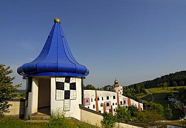 Blue-roof turret at Rogner Thermal Spa and Hotel, designed by Friedensreich Hundertwasser in Bad Blumau, Austria, Europe