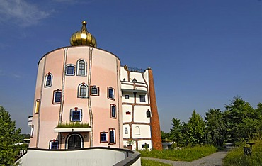 Eccentric architecture of Rogner Thermal Spa and Hotel, designed by Friedensreich Hundertwasser in Bad Blumau, Austria, Europe