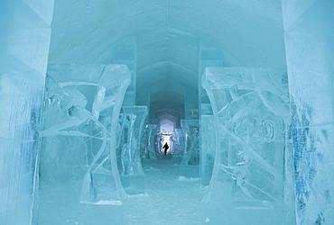Long corridor in the Icehotel in Jukkasjaervi, Lappland, North Sweden, Sweden