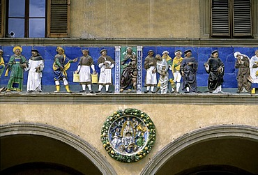 Maiolica frieze, Ospedale del Ceppo, Pistoia, Tuscany, Italy, Europe