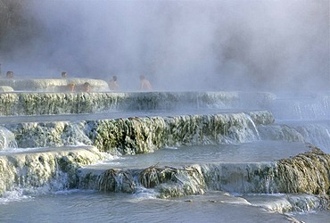 Thermal waterfalls, travertine pools, Cascate del Molino, Saturnia, Province of Grosseto, Tuscany, Italy, Europe