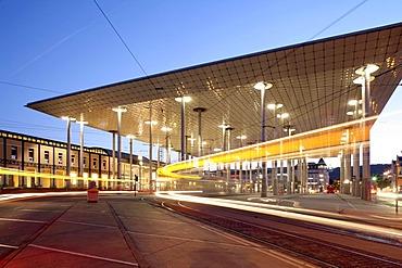 Wilhelmshoehe train station, marquee, street car, Kassel, Hesse, Germany, Europe