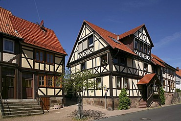 Half-timbered houses, Hann. Muenden, Lower Saxony, Germany, Europe