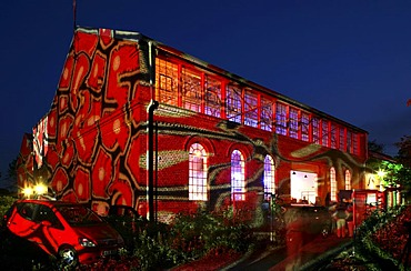 Former Unser Fritz pit, illuminated, now artist colony, Ruhr area, North Rhine-Westphalia, Germany, Europe