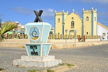 Memorial and Catholic church, Sal Rei, Boa Vista Island, Republic of Cape Verde, Africa